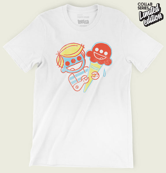 Men T-shirt With Cyborg Boy Eating an Ice-Cream on White Cotton Graphic Tee Shirt Showing Wrinkled Tshirt - Tees.ca