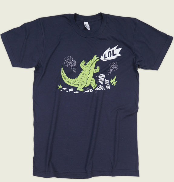 Men T-shirt by Luc Latulippe with Angry Godzilla Destroying the City and Laughing on Navy Graphic Tee Shirt Showing Wrinkled Tshirt Front - Tees.ca