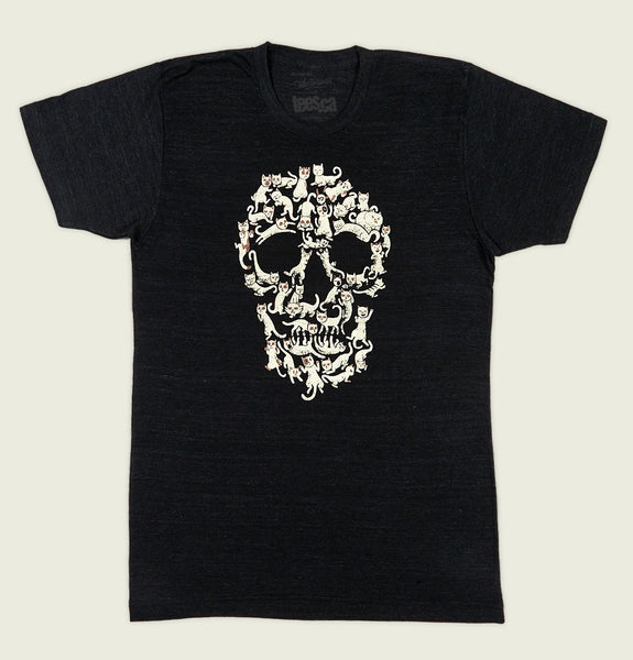 Men T-shirt by Tobe Fonesca With Cats in Different Positions Shaping a Skull Printed on Black Graphic Tee Shirt Showing Wrinkled Tshirt - Tees.ca
