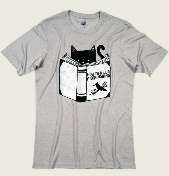 Men T-shirt by Tobe Fonesca With Cats Reading Manual on How to Kill a Mockingbird on Silver Graphic Tee Shirt Showing Wrinkled Tshirt Front - Tees.ca