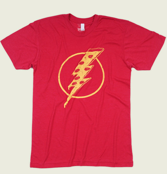 Men T-shirt by Tobe Fonesca With Drawing of Flash Superhero Logo with Pizza Instead Lightning Bolt on Red Tee Shirt Showing Wrinkled Tshirt - Tees.ca