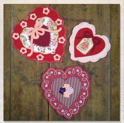 Charming Hearts Trio Table Mat Pattern