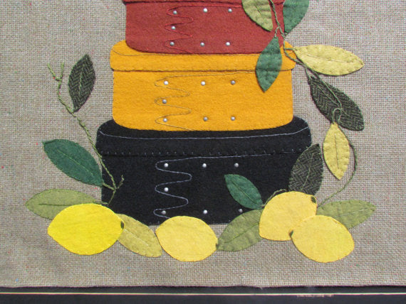 Country shaker boxes wool applique pattern sentimental stitches