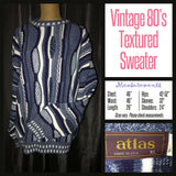Vintage 80's Men's Atlas Blue Textured Sweater 48B XL Extra Large