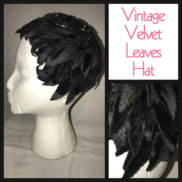 Vintage 20's Black Velvet Leaves Floral Flapper Helmet Hat