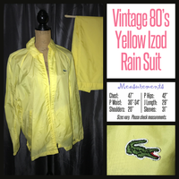 Vintage 80's Izod Lacoste Yellow Rain Suit Jacket & Pants 47B XL Extra Large