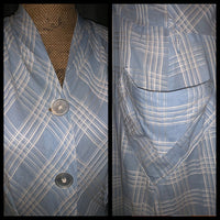 Vintage 50's Baby Blue Plaid Cotton Day Dress 42B L Large
