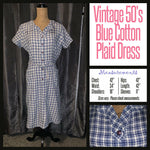 Vintage 50's Denim Blue Plaid Cotton Day Dress 42B L Large