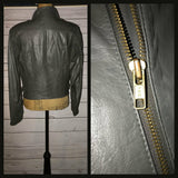 Vintage 80's Grey Gray Berman's Leather Motorcycle Cafe Racer Jacket Coat 38B M Medium
