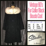 Vintage 60's Black Boucle Fur Collar Swing Coat XL Extra Large 42B