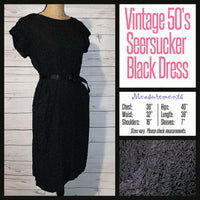 Vintage 50's Black Seersucker Day Dress 38B M Medium