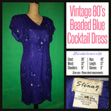 Vintage 80's Blue Beaded Cocktail Dress 36B M Medium