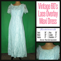 Vintage 60's Baby Blue Empire Lace Maxi Dress 36B M Medium