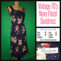 Vintage 70's Navy Blue Floral Print Sun Dress 38B L Large