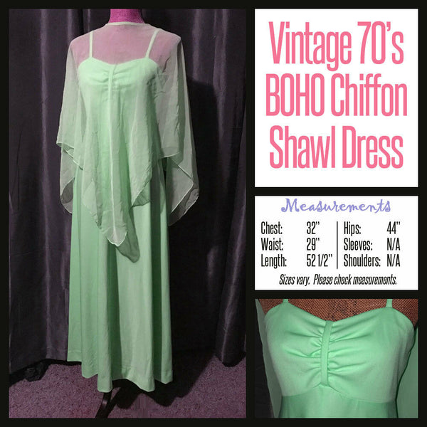 Vintage 70's Lime Boho Chiffon Shawl Maxi Dress 32B S Small