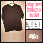 Vintage 80's Brown Lacoste Green Gator Shirt XL Extra Large