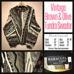 Vintage 80's Tundra Olive & Brown Textured Sweater 50B XL Extra Large