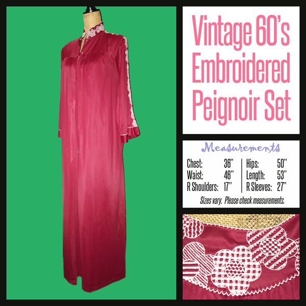 Vintage 60's Burgundy Embroidered Robe & Gown Penior Lingerie Set M Medium 36B