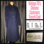 Vintage 70's Navy Chinese Cashmere Trench Coat 36B S Small