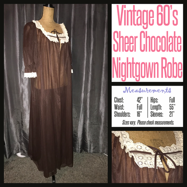 Vintage 60's Chocolate Brown Lingerie Robe 42B XL Extra Large