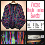 Vintage 80's Bright Colorful Tundra Canada Textured Sweater 46B L Large