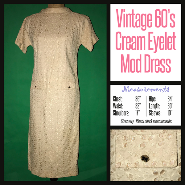 Vintage 60's Cream Eyelet Mod Dress 36B M Medium