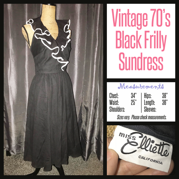 Vintage 70's Black Frilly Sundress Dress Miss Elliette 34B S Small