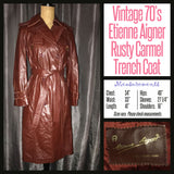 Vintage 70's Etienne Aigner Rusty Carmel Trench Coat 34B S Small