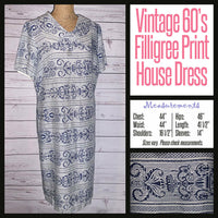 Vintage 60's Navy & White Filigree Print Dress 44B XL Extra Large