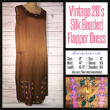 Vtg 20s Black Womens Vintage Beaded Flapper Dress Glass Beads 42B L Large