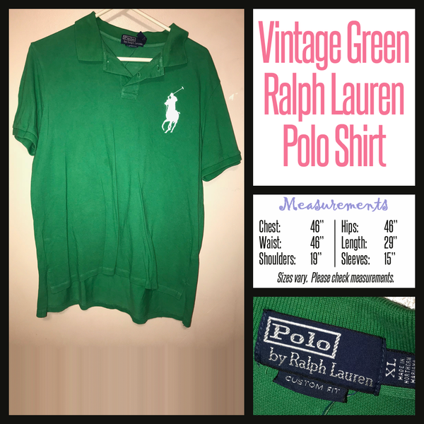 Vintage 90's Green Ralph Lauren Polo Shirt 46B XL Extra Large