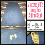 "Vintage 70's Light Blue HANG TEN A-Line Preppy Skirt 22"" Waist XS Extra Small"