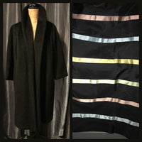 Vintage 60's Black Lilli Ann Striped Lined Wool Wrap Coat XL Extra Large 44B