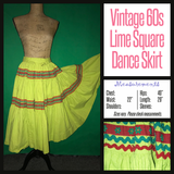 "Vintage 60's Lime Square Dance Skirt 22"" Waist XS Extra Small"