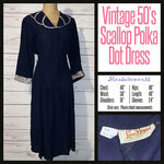Vintage 50's Navy Polka Dot Scallop Trim Day Dress 48B XL Extra Large