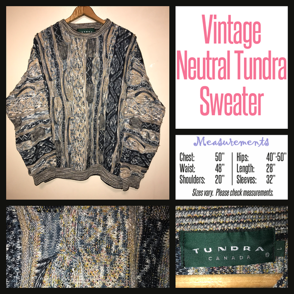 Vintage 80's Tundra Neutral Textured Sweater 50B XL Extra Large