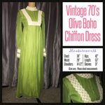 Vintage 70's Olive Boho Maxi Dress 30B XS Extra Small