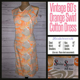 Vintage 60's Mod Psychedelic Orange & Grey Swirl Dress 44B XL Extra Large