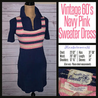 Vintage Mod Pink & Blue Striped Sweater Dress XS 22-32B Extra Small