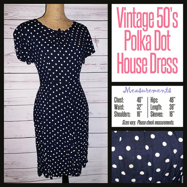 Vintage 50's Navy Polka Dot Day Dress 40B L Large