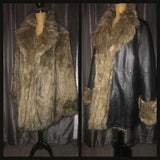 Vintage 80's Reversible Faux Fur and Black Leather Coat 54B XXXL 3XL