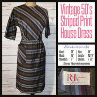 Vintage 50's Striped Day Dress 36B R & K Originals S Small