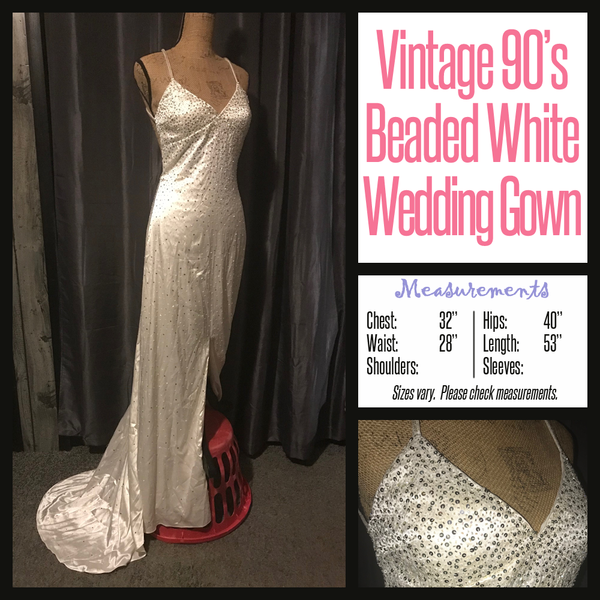 Vintage 90's White Fully Beaded Wedding Gown Dress 32B XS Extra Small