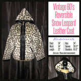 Vintage 80's Reversible Snow Leopard Leather Hooded Jacket Coat 34B S Small