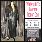 Vintage 80's Leather Gold Deco Trench Coat 44B M Medium