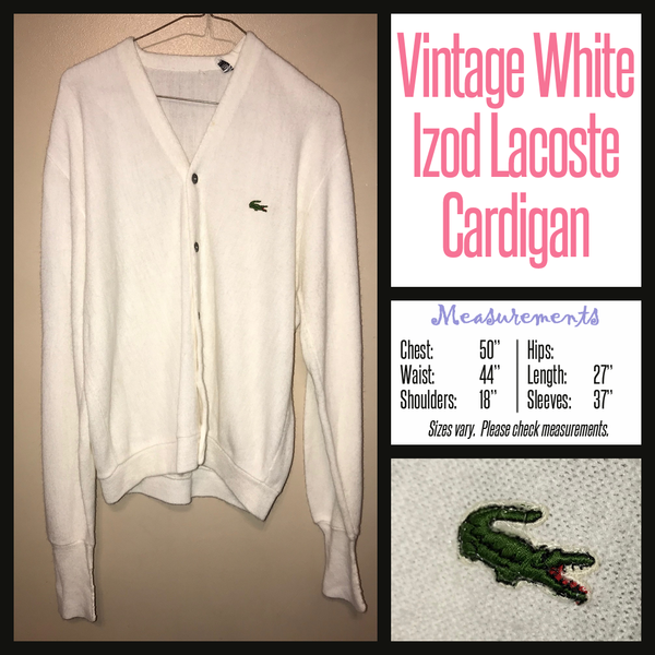 Vintage 80's White Men's Lacoste Izod Cardigan Sweater 50B XL Extra Large
