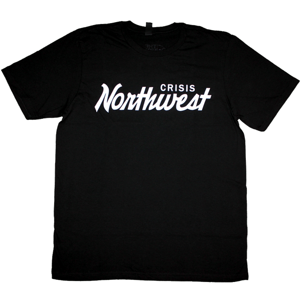 Northwest Cursive T-Shirt (Men's) Black/White - Crisis Clothing