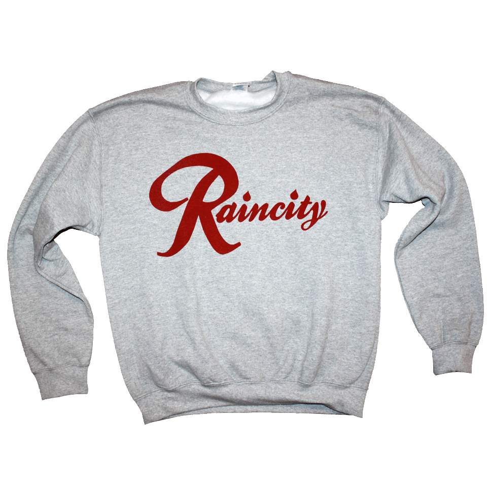 Raincity Crewneck (Men's) Concrete/Red - Crisis Clothing