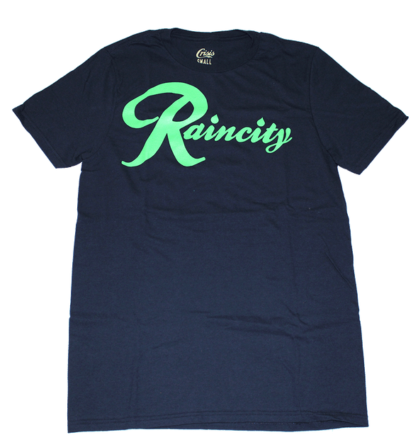 Raincity (Men's T-Shirt) Action Green/Navy - The North West Clothing