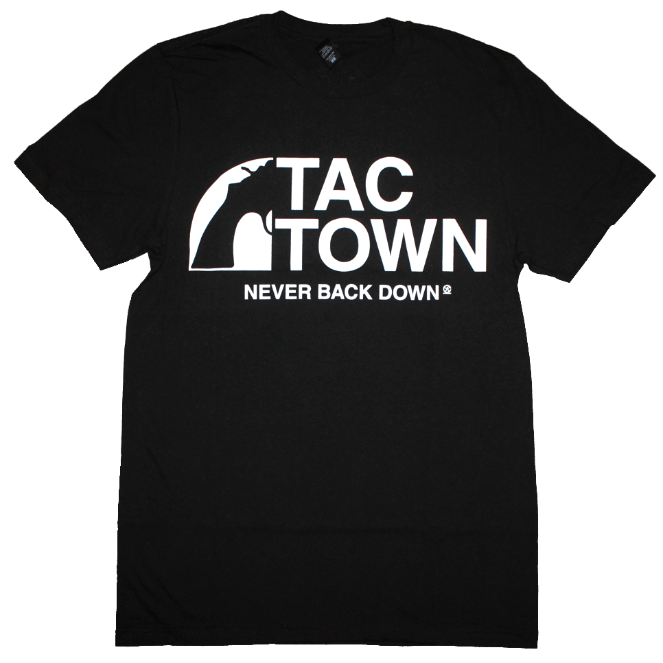 Tac Town Never Back Down T-Shirt (Men's) Black/White - The North West Clothing